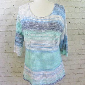 Pure Jill Open Knit Crochet Sweater